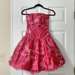 Vintage 1980s Prom Dress Cocktail Dress Hot Pink